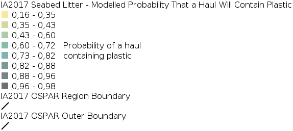 IA2017 - Composition and Spatial Distribution of Litter on the Seafloor - Modelled Probability That a Haul Will Contain Plastic legend