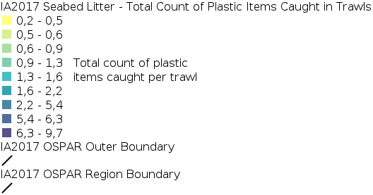IA2017 - Composition and Spatial Distribution of Litter on the Seafloor - Total Counts of Plastic Items Caught in Trawls  legend