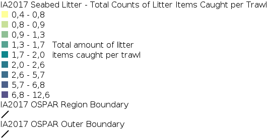 IA2017 - Composition and Spatial Distribution of Litter on the Seafloor - Total Counts of Litter Items Caught per Trawl  legend