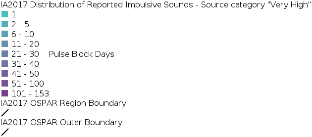 IA2017 - Distribution of Reported Impulsive Sounds - Source Category Very High legend