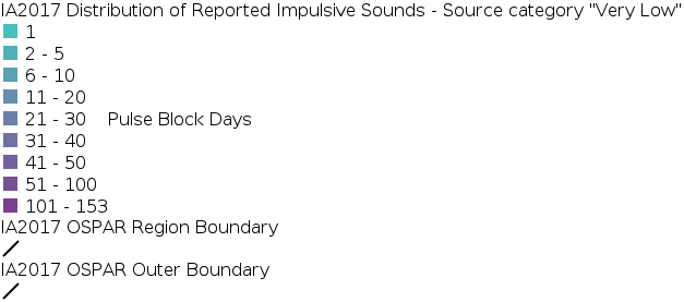 IA2017 - Distribution of Reported Impulsive Sounds - Source Category Very Low legend
