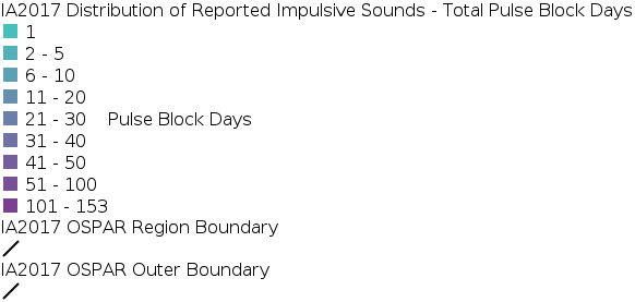IA2017 - Distribution of Reported Impulsive Sounds - Total Pulse Block Days 2015 legend
