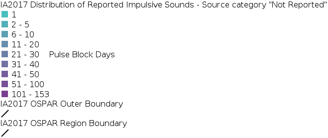 IA2017 - Distribution of Reported Impulsive Sounds - Source Category Not Reported legend