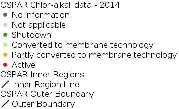Location and status of the mercury-based chlor-alkali plants in the OSPAR Maritime Area - 2014 legend