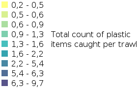 IA2017 Seabed Litter - Total Count of Plastic Items Caught in Trawls legend